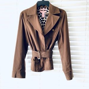 Bandolino Brown Belted Trench Jacket Size 10